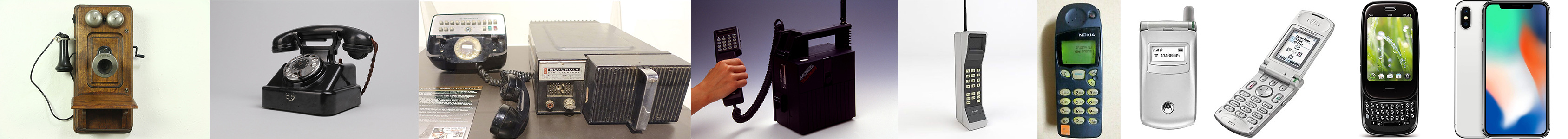 a compilation of images detailing how phones have changed over time